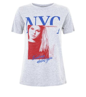 Pale Grey NYC Photographic T-Shirt New Look