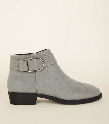 Grey Suedette Buckle Strap Side Ankle Boots