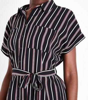 Black Stripe Short Sleeve Shirt Dress New Look