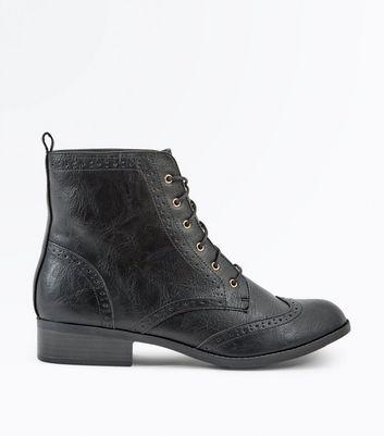 brogue black boots