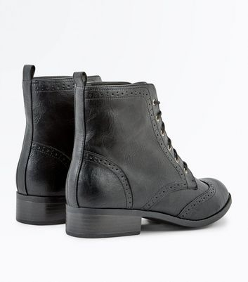 Black Lace Up Brogue Boots New Look