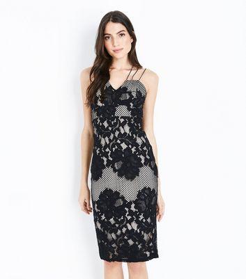 AX Paris Black Lace Fishnet Strappy Midi Dress New Look