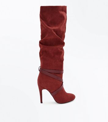 Rust Suedette Strappy Heeled Knee High Boots
