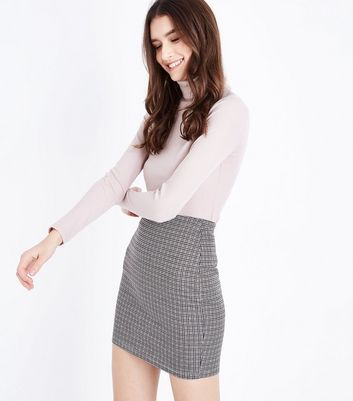 Brown Check Jersey Tube Skirt New Look