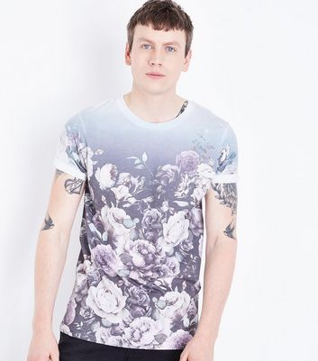 White Ombre Floral Print T-Shirt New Look