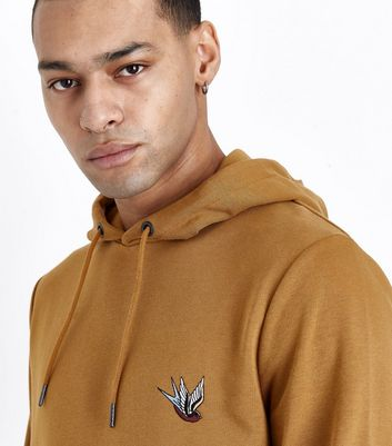 Camel Swallow Embroidered Hoodie New Look