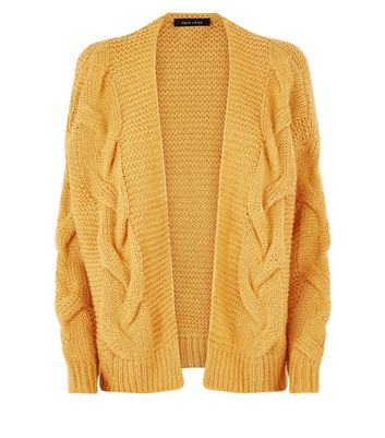 Mustard Cable Knit Drop Sleeve Cardigan New Look