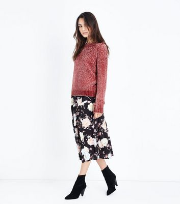 Cameo Rose Pink Honeycomb Yoke Chenille Jumper New Look