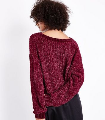 Cameo Rose Burgundy Cropped Chenille Jumper New Look