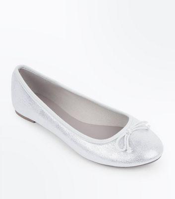 Silver Metallic Shimmer Ballet Pumps