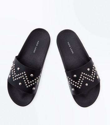 Black Stud Strap Sliders New Look