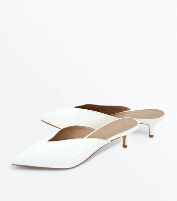 White V Front Kitten Heel Pointed Mules