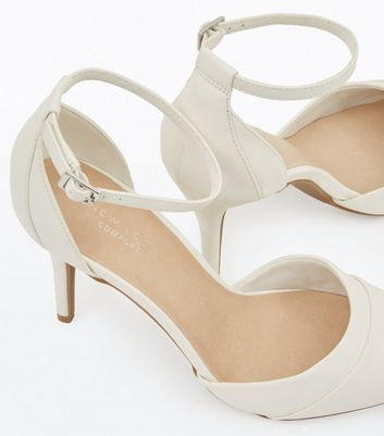 White Comfort Flex Ankle Strap Pointed Heels New Look