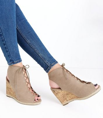 Light Brown Suedette Ghillie Wedges New Look