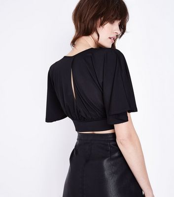 Black Cape Sleeve Wrap Front Crop Top New Look