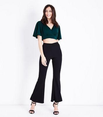 Dark Green Cape Sleeve Wrap Front Crop Top New Look