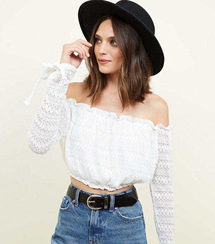 69d00930363ede Cream Lace Knit Bardot Crop Top   New Look