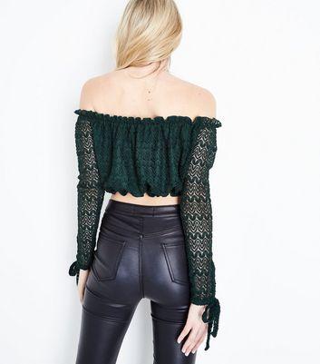 Dark Green Lace Knit Bardot Crop Top New Look
