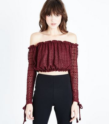 Burgundy Lace Bardot Crop Top New Look