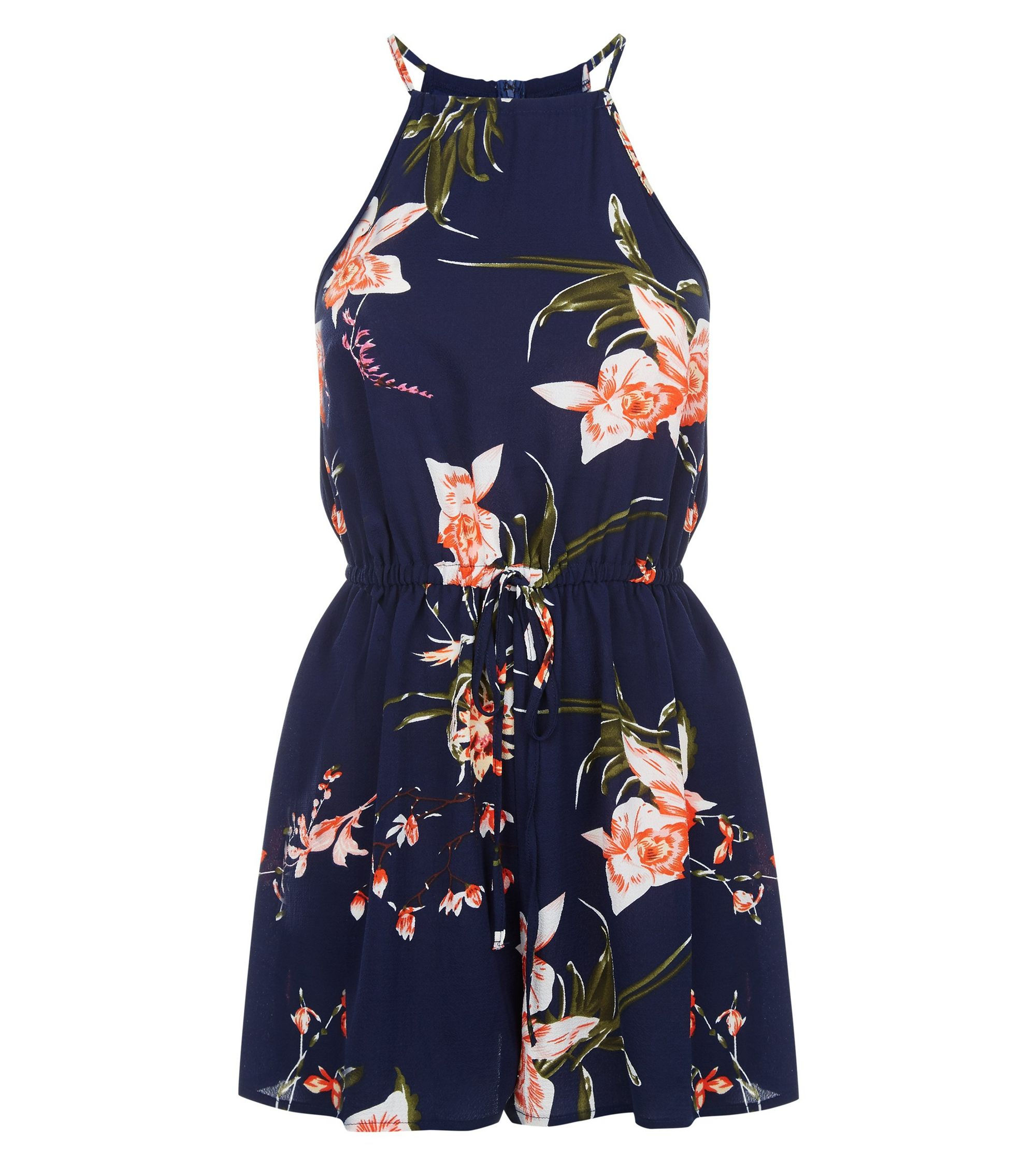 12f2ebd630 New Look AX Paris Navy Floral High Neck Playsuit at £22