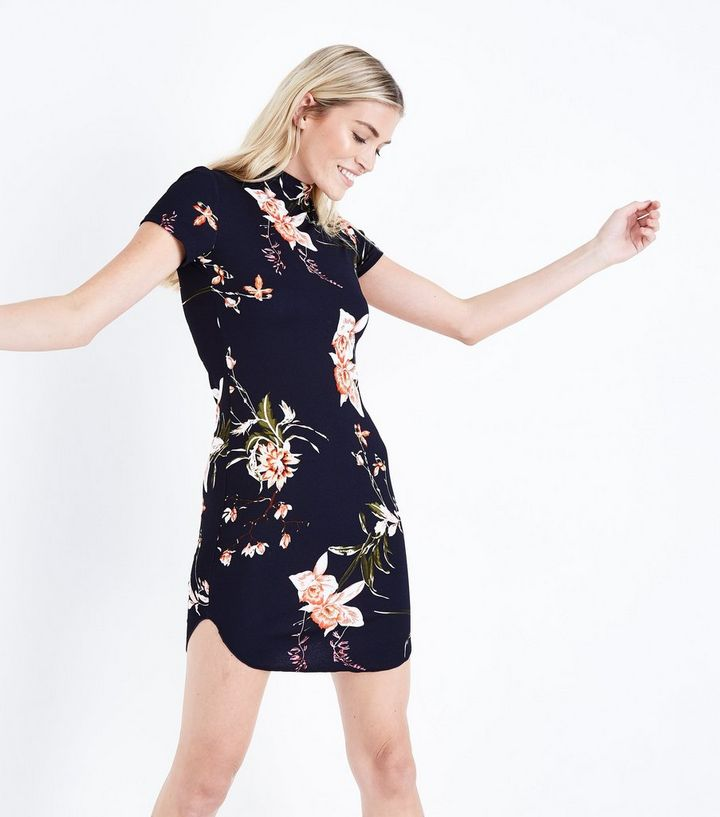 077f4be9863a AX Paris Navy Floral High Neck Bodycon Dress | New Look