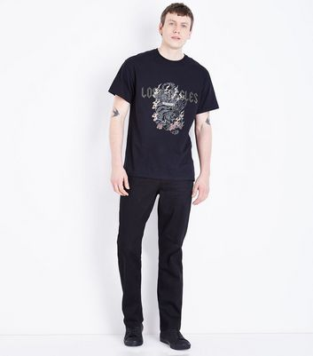Black Los Angeles Studded Slogan T-Shirt New Look