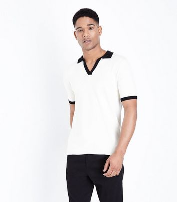 Off White Revere Collar Knitted Polo Shirt