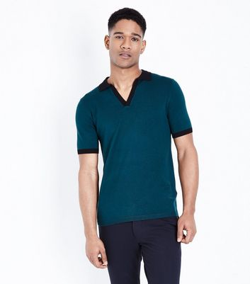 Teal White Revere Collar Knit Polo Shirt