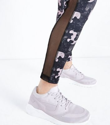 Pink Camo Print Mesh Panel Sports Leggings New Look
