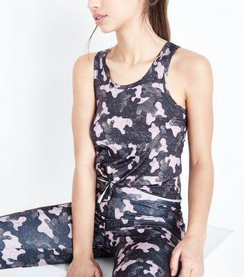 Pink Camo Print Tie Front Sports Vest New Look