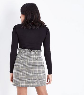 Petite Black Check Paper Bag Waist Mini Skirt New Look