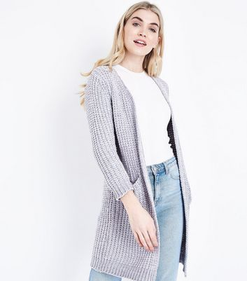 Cameo Rose Pale Grey Chenille Longline Cardigan New Look