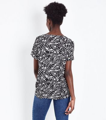 JDY White Feather Print Ruched Front Top New Look