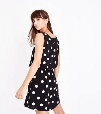 JDY Black Spot Print Sleeveless Dress New Look