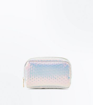Pink Holographic Scale Make Up Bag