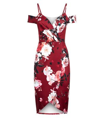 Blue Vanilla Red Floral Print Cold Shoulder Dress New Look