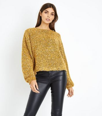 Mustard Tweed Balloon Sleeve Jumper