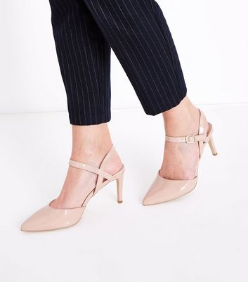 Nude Patent Ankle Strap Pointed Courts New Look