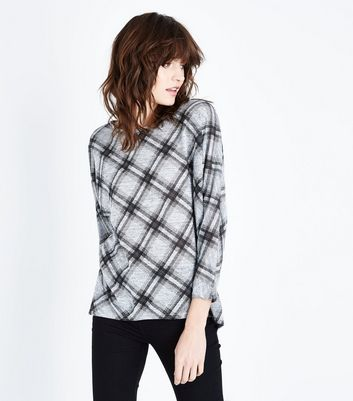 Grey Check Batwing Sleeve Fine Knit Top