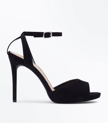 Wide Fit Black Peep Toe Stiletto Sandals New Look