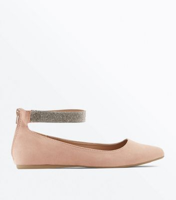 Wide Fit Cream Suedette Ankle Strap Ballet Pumps New Look