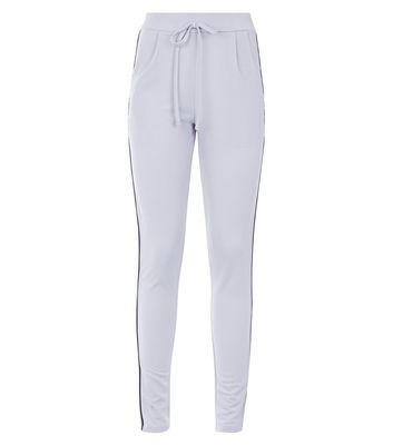 Cameo Rose Pale Grey Side Stripe Joggers New Look