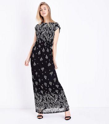 Mela Black Border Print Lace Maxi Dress New Look