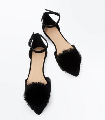 Black Suedette Pom Pom Pointed Pumps New Look