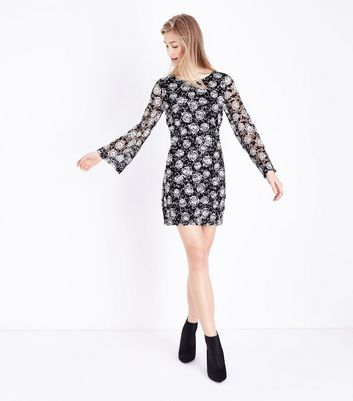 Mela Black Floral Print Long Sleeve Dress New Look