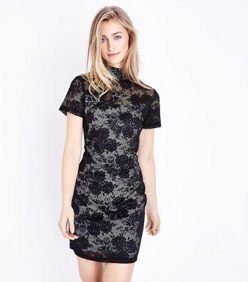 Mela Black Lace High Neck Bodycon Dress New Look