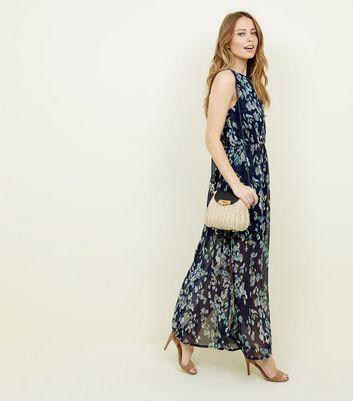 Mela Blue Floral Print High Neck Maxi Dress New Look