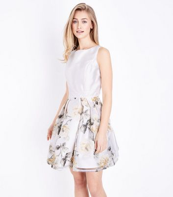 Mela Off White Floral Print Prom Dress