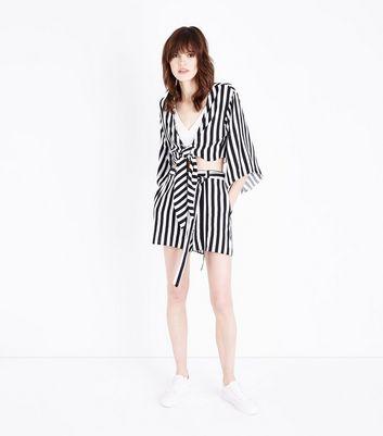 Black Stripe Tie Front Crop Top New Look