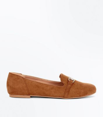 Girls Tan Bar Front Loafers
